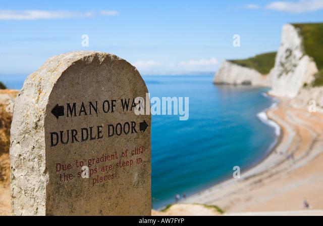Clifftop coast path signpost Durdle Door Dorset - Stock Image & Durdle Door Clifftop Path Stock Photos u0026 Durdle Door Clifftop Path ... pezcame.com