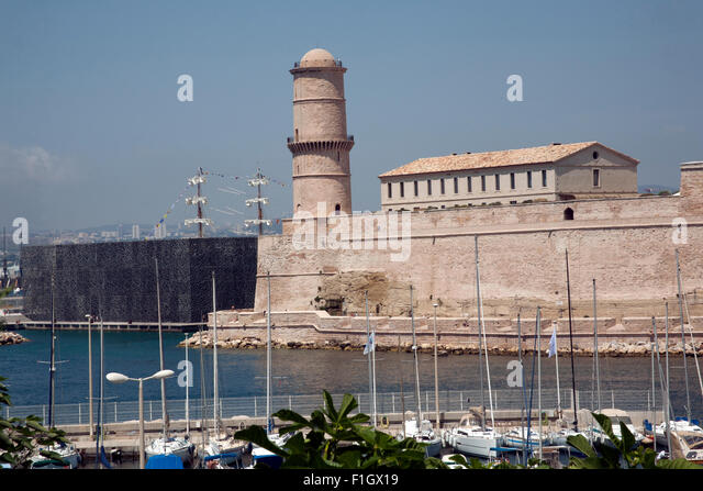 French old lighthouse stock photos french old lighthouse - Parking vieux port fort saint jean marseille ...