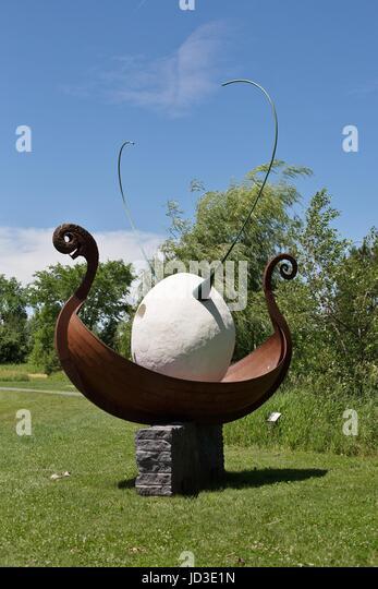'Egg Sail Saga' by Peter Martin Morales, on display at Franconia Sculpture Park in Shafer, Minnesota, USA. - Stock Image
