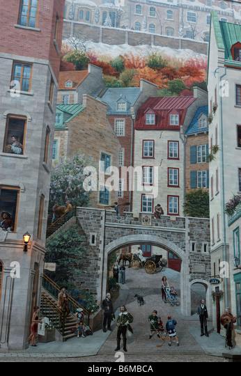 Quebec city mural stock photos quebec city mural stock for Mural quebec city