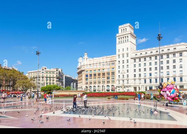 Placa de Catalunya, a large public square in the city centre of Barcelona, Catalonia (Catalunya), Spain, Europe - Stock Image