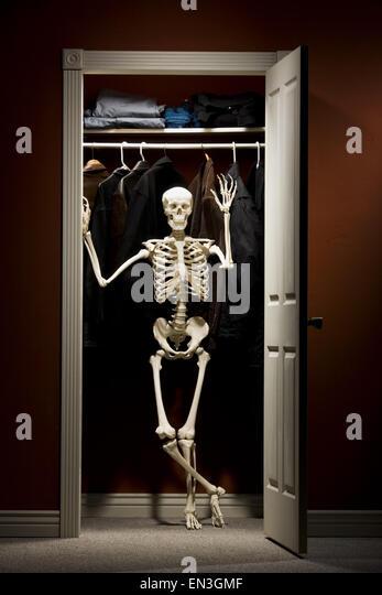 Skeleton Standing In Closet Waving   Stock Image