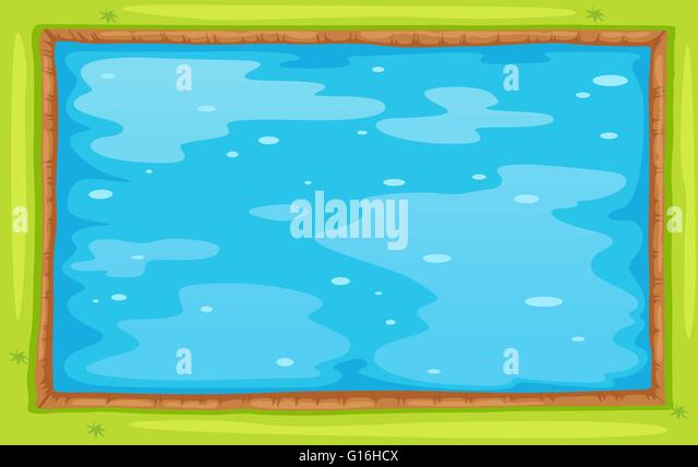 aerial view of lake or pool illustration stock image