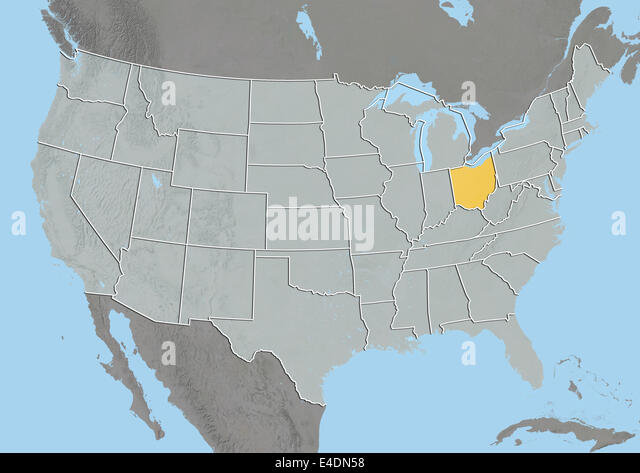 State Of Ohio United States Relief Map Stock Image