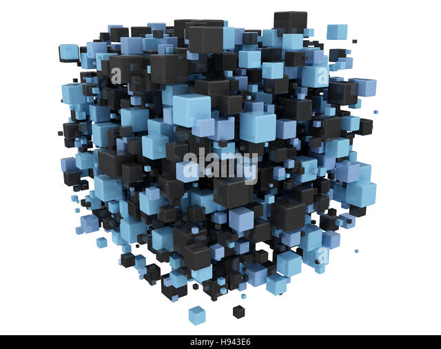 3d Cube In Black And Blue Abstract Qhd Wallpaper: Abstract Blue 3d Digital Cubes Cut Out Stock Images