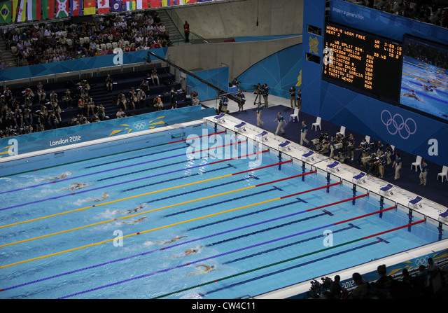 swimming action from the aquatics centre at the london 2012 olympic games stock image - Olympic Swimming Pool 2012