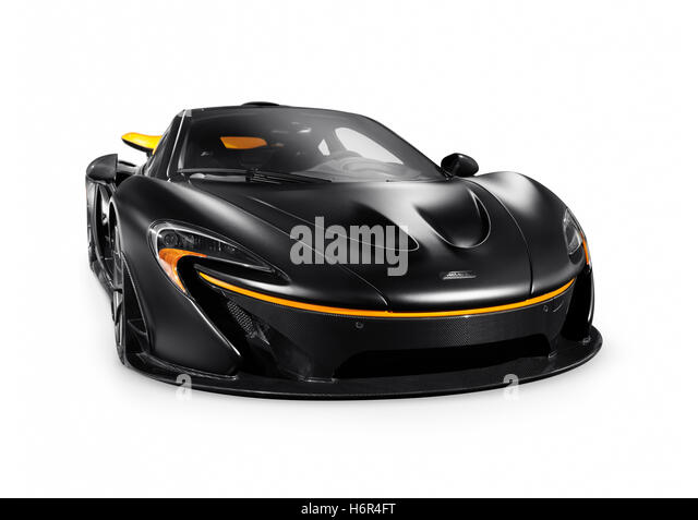 Matte Black 2015 McLaren P1 Plug In Hybrid Supercar Isolated Sports Car On  White Background