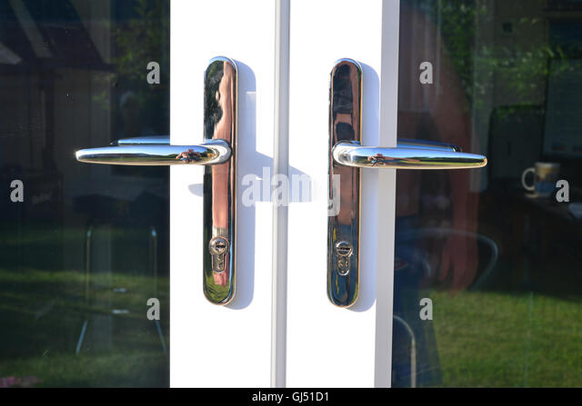french door handles on french doors stock image