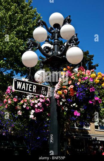 Flowers Hanging Street Lamp Stock Photos Flowers Hanging Street Lamp St
