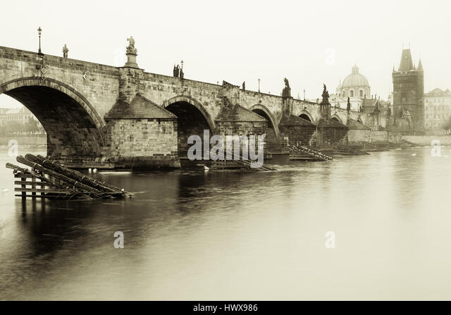 Fog prague charles bridge stock photos fog prague for Where is prague near