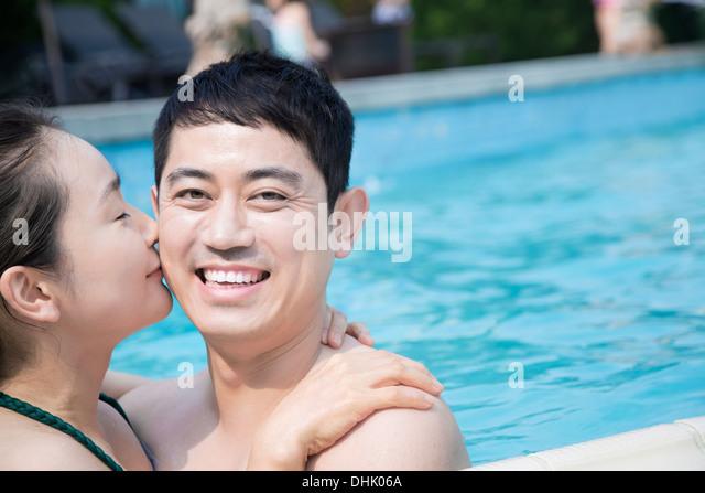 Couple Falling Pool Water Stock Photos Couple Falling Pool Water Stock Images Alamy