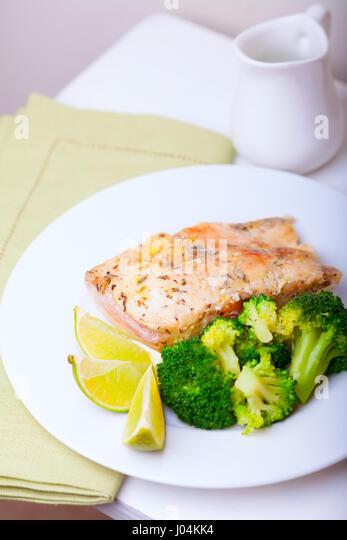 White fish salsa stock photos white fish salsa stock for Healthy fish dinner