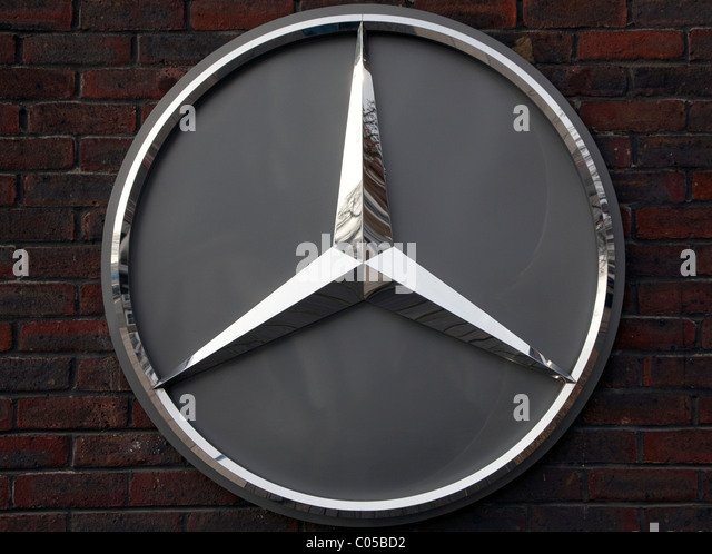 mercedes benz logo on showroom in london stock image
