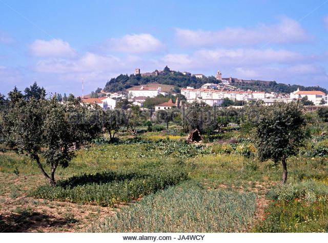 view across fields and town portel alentejo region portugal western europe