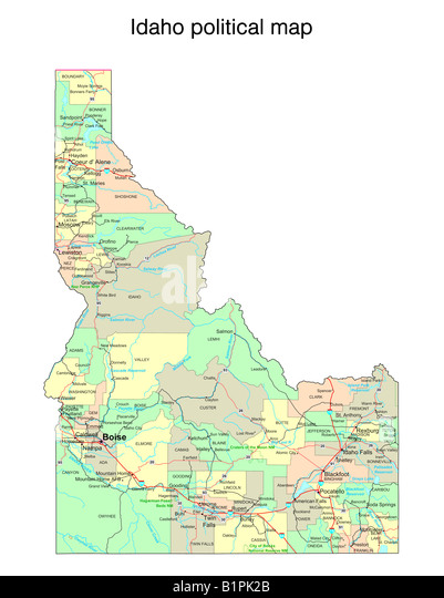Idaho State Map Stock Photos Idaho State Map Stock Images Alamy - Idaho political map