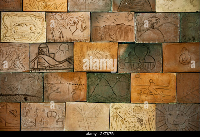 Terracotta Wall Tiles At Wellington Botanic Garden   Stock Image