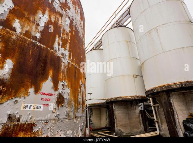 Steel Tank Demolition : Cutting steel demolition stock photos