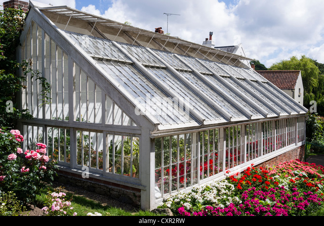 large leanto greenhouse for ornamental plants in guernsey uk stock image