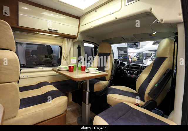 Interior Of A Modern Camper Van At The Caravan Salon Exhibition 2012 On August 27