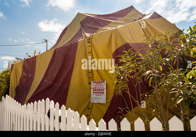Fumigation of a house. A colourful tent covers a house as it is gassed to & Fumigation Tent Stock Photos u0026 Fumigation Tent Stock Images - Alamy