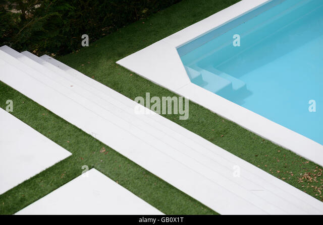 aerial view of an outdoor swimming pool and lawn stock image - Rectangle Pool Aerial View