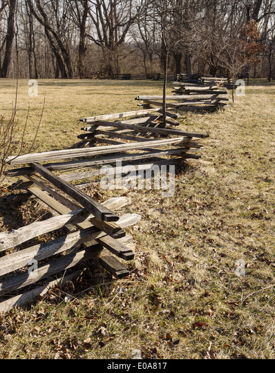 Split wood fence rail stock photos