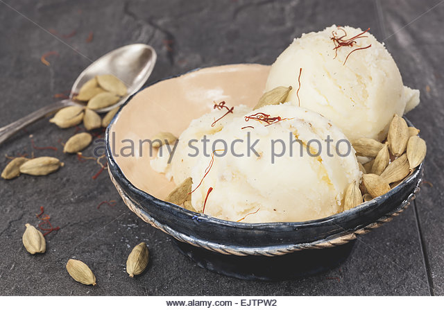 Saffron, cardamom and vanilla ice cream. Saffron, cardamom and vanilla ...