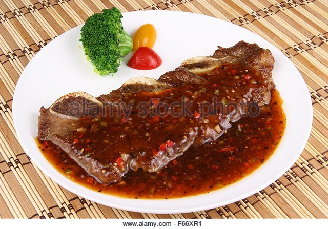 Pan Fried Beef Short Ribs In Black Pepper Sauce Stock Image