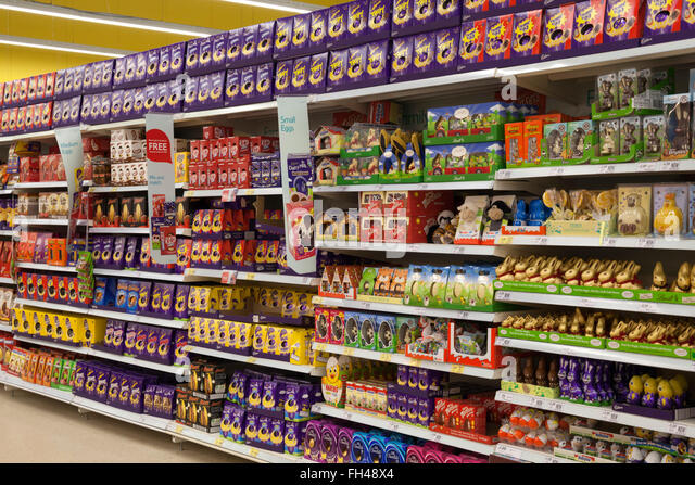 Easter eggs supermarket stock photos easter eggs supermarket supermarket aisle full of easter eggs tesco evesham worcestershire england united negle