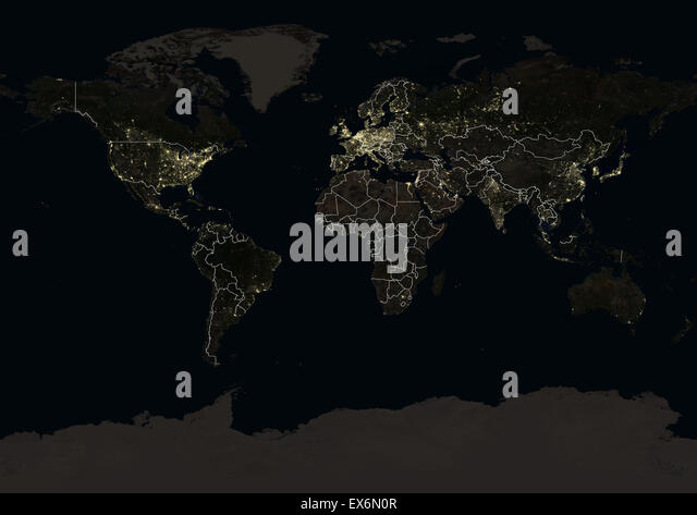 Continent light night map stock photos continent light night map world at night in 2012 showing a world map in miller projection this satellite gumiabroncs Images