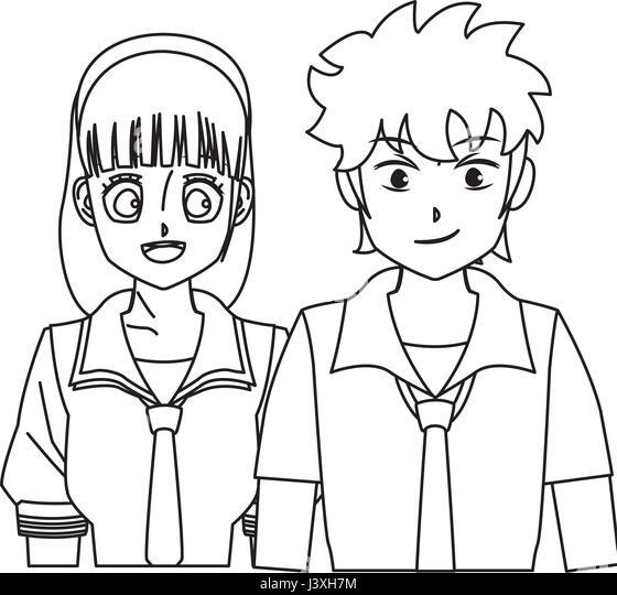 anime boy and girl stock photos anime boy and girl stock images