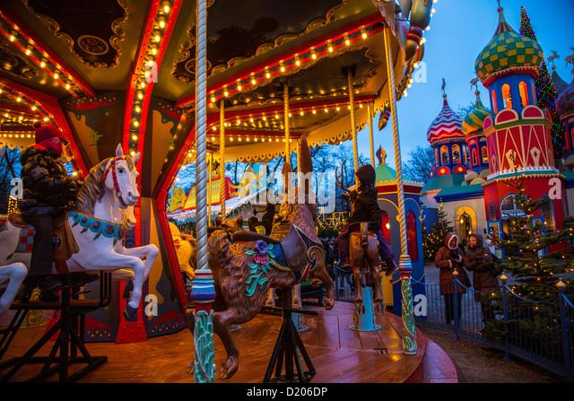 Christmas market copenhagen tivoli stock photos for Amusement park decoration ideas