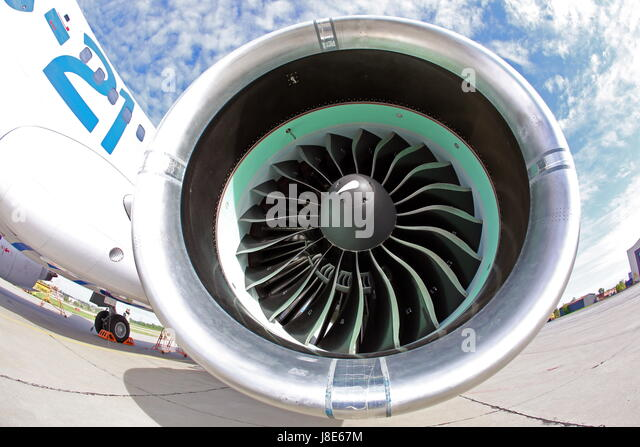 Irkutsk, Russia. 28th May, 2017. Engine of a new Russian-made Irkut MC-21-300 twinjet airliner after its first test - Stock Image