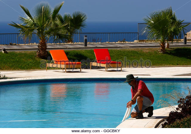 Swimming Pool Service Worker : Chambray stock photos images alamy