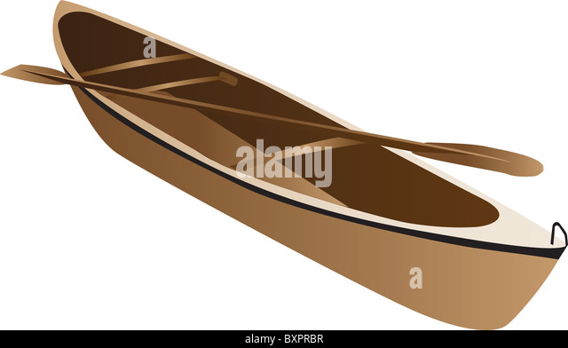 Three Dimensional Illustration Of Wooden Canoe And Paddle Isolated On White Background