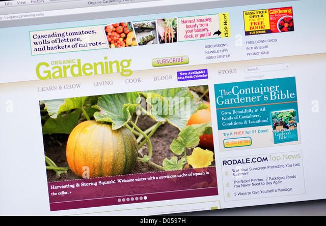 organic gardening magazine website stock image