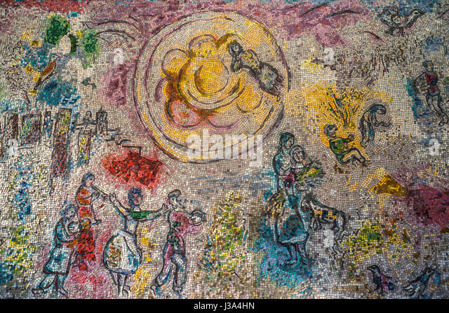 Four seasons mosaic stock photos four seasons mosaic for Chagall mural chicago