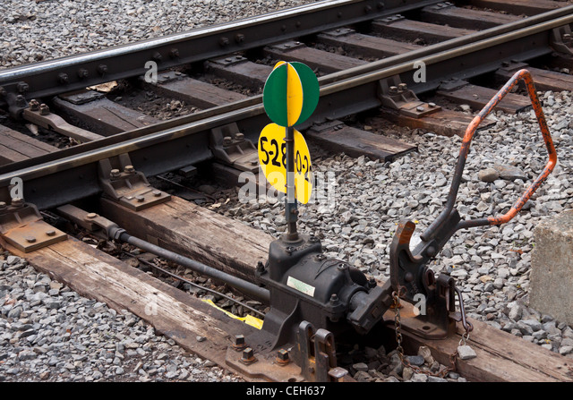 Change Lever For Trains : Railway switch stock photos images