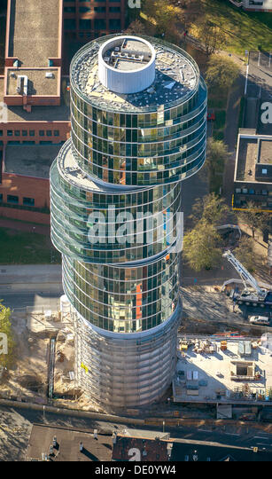aerial view of the exzenterhaus building an office tower built on an old bunker building an office