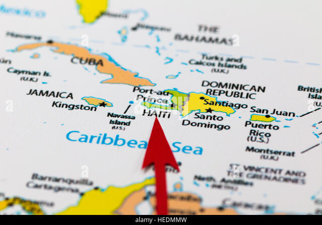Red Arrow Pointing Haiti On The Map Of North America Continent And Caribbean Region Stock