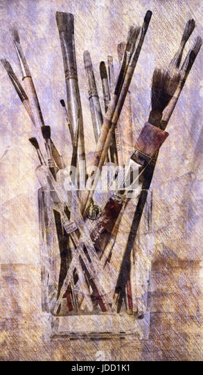 Vase of Paintbrushes - Stock Image