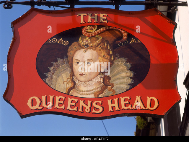 queens head and pub sign stock photos queens head and. Black Bedroom Furniture Sets. Home Design Ideas