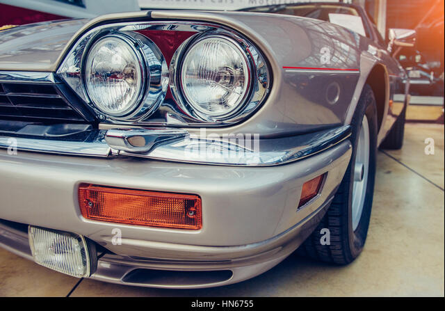 Vintage Automobile Front Center With One Headlight : Headlights and mirror stock photos
