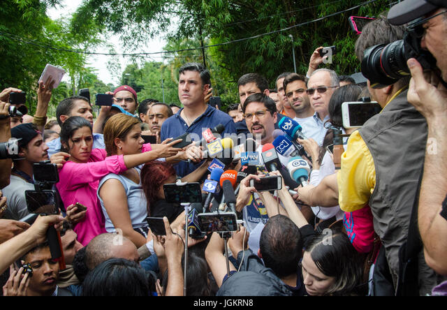 Freddy Guevara, leader of the People's Will and First Vice-President of the National Assembly of Venezuela, - Stock Image