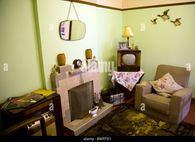 1950s Living Room, Museum Of East Anglian Life, Stowmarket, Suffolk   Stock  Image