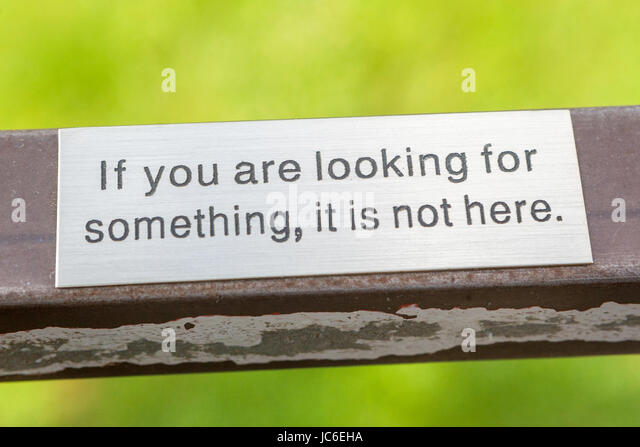 If you are looking for something, it is not here - Important message on the lookout tower - Stock Image