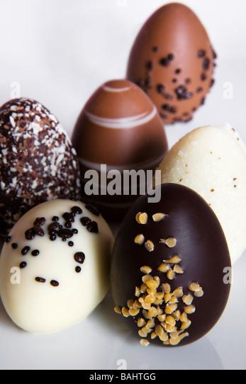 Chocolate truffle eggs. - Stock Image