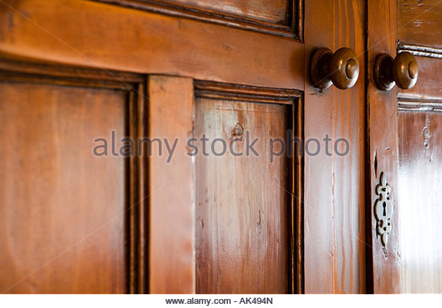 Wooden cupboards stock photos