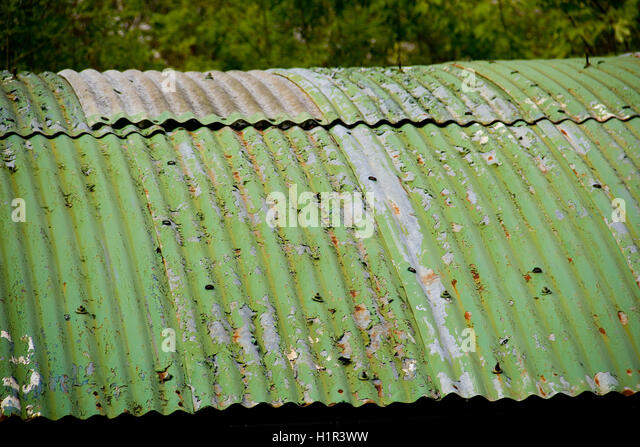 A Weathered Corrugated Tin Roof   Stock Image