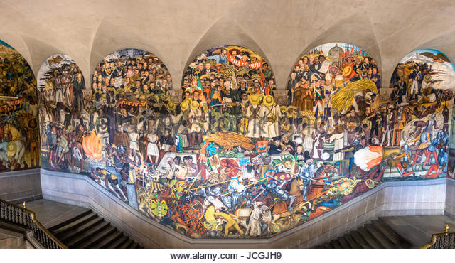 Diego rivera mural national palace stock photos diego for Diego rivera famous mural